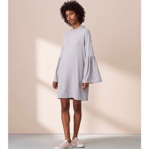 Lou & Grey Bell Sleeve Striped Hoodie Dress